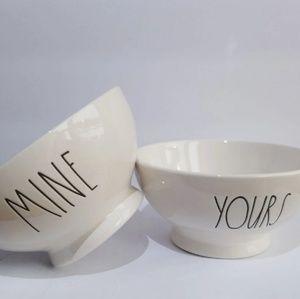 "Rae Dunn "" MINE"" ""YOURS"" Bowl Set"